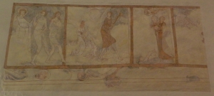 A old, restored fresco on the north wall of the sanctuary in the Evangelical church in Affalterbach. It appears that this fresco once encircled the sanctuary, depicting important stories from the Bible. Whether it was visible when Johannes attended church there is unknown.
