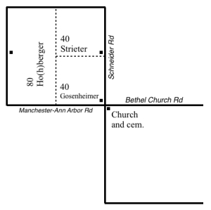 A diagram of the square mile in Freedom Township in which the Strieters lived and worshipped. Solid lines represent roads, dotted lines represent property division, and small squares represent either a house or a church.