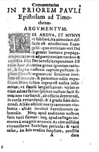 Folio 1 of Heshusius 1586 commentary on 1 Timothy